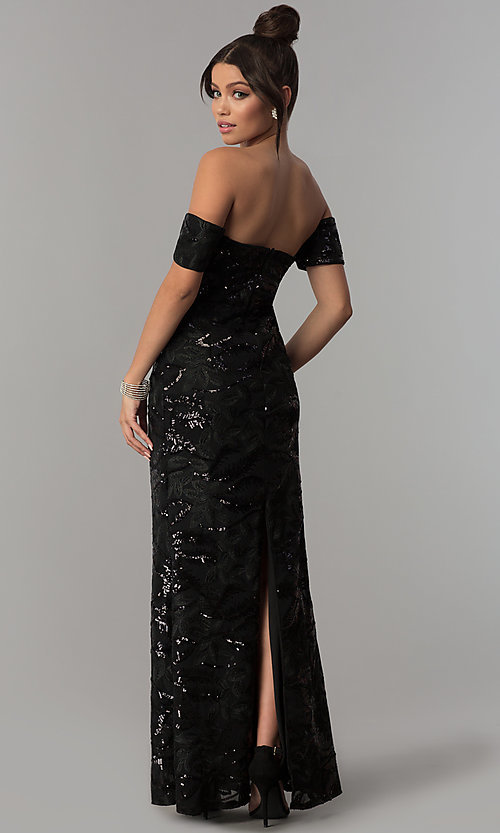 Image of off-the-shoulder sweetheart black sequin prom dress Style: SOI-M17486SI194 Back Image