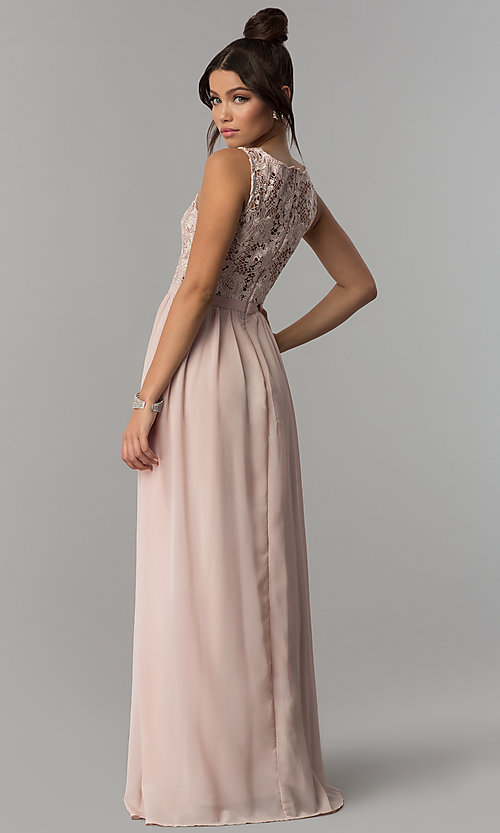 fc922e9c336 Image of lace-bodice v-neck long chiffon prom dress. Style  SOI