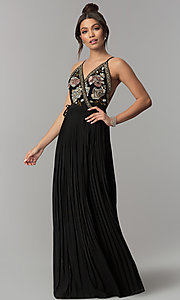 Long Black Wrap Prom Dress with Floral Embroidery