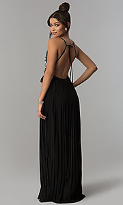 Image of long black wrap prom dress with floral embroidery. Style: SOI-M17081 Back Image