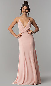 Image of keyhole-back long chiffon prom dress in blush pink. Style: SOI-D16379 Front Image