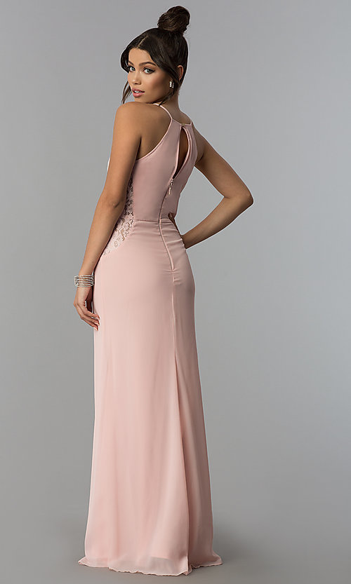 Image of keyhole-back long chiffon prom dress in blush pink. Style: SOI-D16379 Back Image
