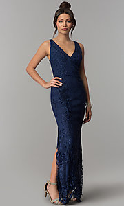 Image of sheer-back long navy blue lace prom dress with slits. Style: SOI-D16853 Front Image