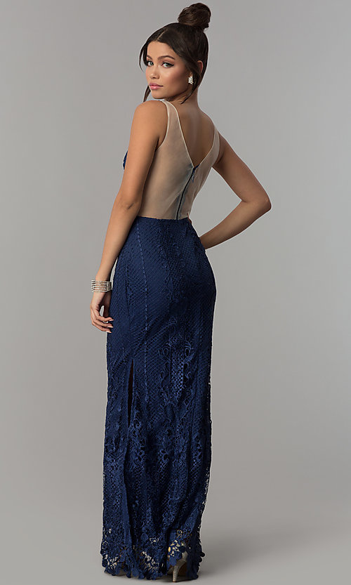 Image of sheer-back long navy blue lace prom dress with slits. Style: SOI-D16853 Back Image