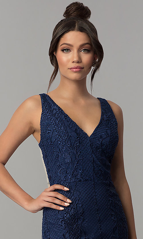 Image of sheer-back long navy blue lace prom dress with slits. Style: SOI-D16853 Detail Image 1