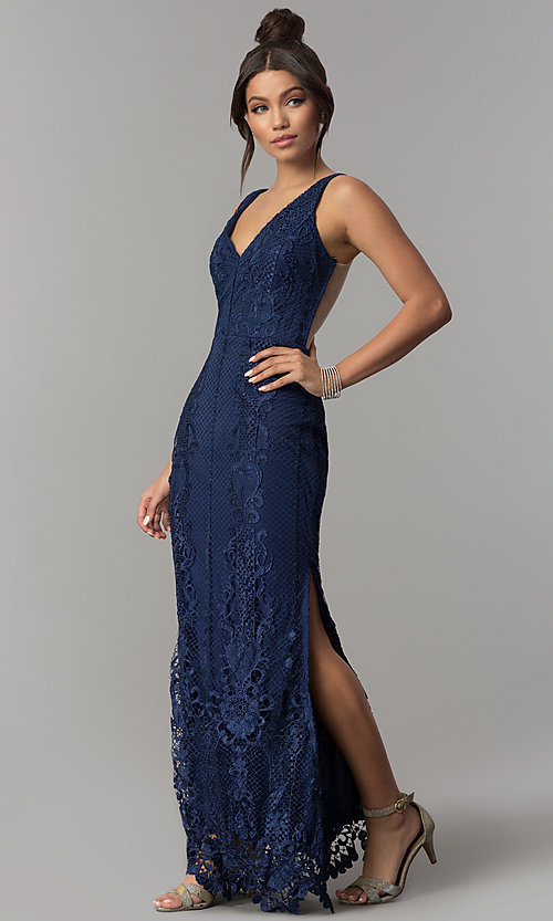 Image of sheer-back long navy blue lace prom dress with slits. Style: SOI-D16853 Detail Image 3