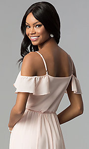 Image of long wrap ruffled-cold-shoulder prom dress. Style: SOI-M17648 Detail Image 2