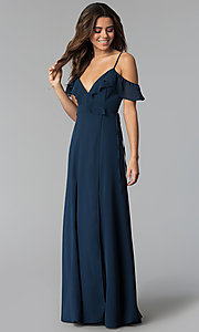 Image of long wrap ruffled-cold-shoulder prom dress. Style: SOI-M17648 Detail Image 3
