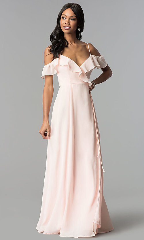 Image of long wrap ruffled-cold-shoulder prom dress. Style: SOI-M17648 Front Image