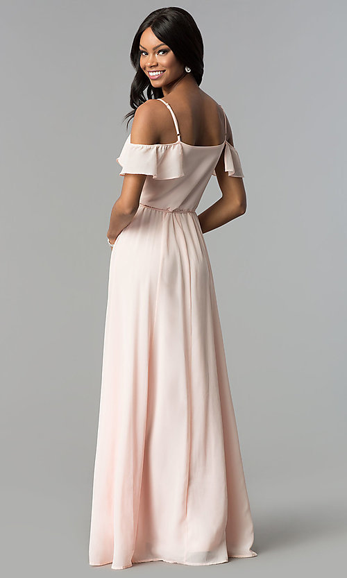 Image of long wrap ruffled-cold-shoulder prom dress. Style: SOI-M17648 Back Image