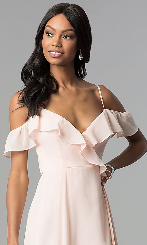 Image of long wrap ruffled-cold-shoulder prom dress. Style: SOI-M17648 Detail Image 1