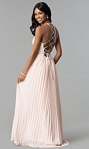 Image of long pleated-chiffon wrap prom dress with corset. Style: SOI-M17623 Back Image