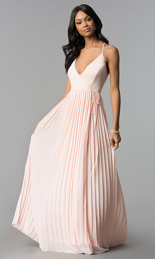 Pleated-Chiffon Long Wrap Prom Dress - PromGirl