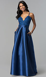 Long Embroidered-Lace-Bodice Satin Prom Gown