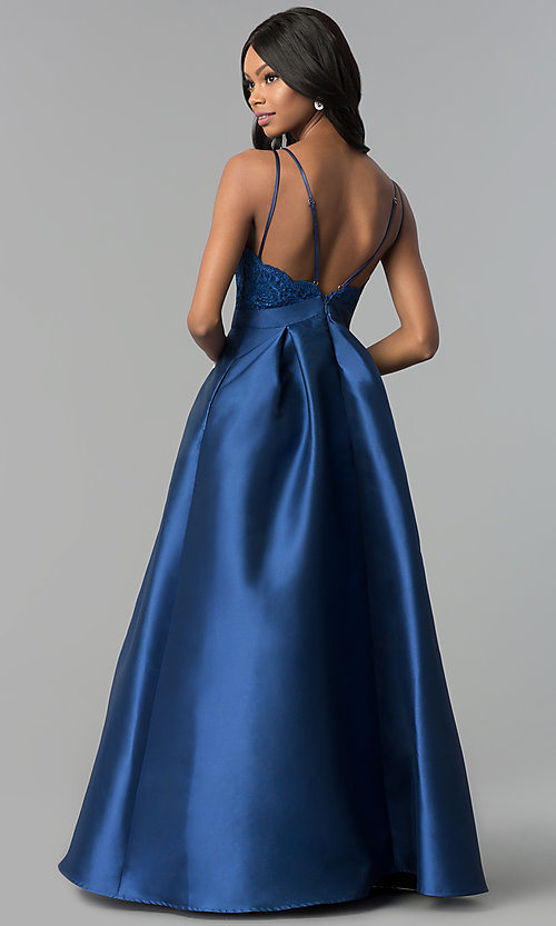 Image of long embroidered-lace-bodice satin prom gown. Style: SOI-M17655 Back Image