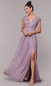 Image of sleeveless embroidered-lace-bodice long prom dress. Style: SOI-M17668 Detail Image 3