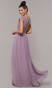 Image of sleeveless embroidered-lace-bodice long prom dress. Style: SOI-M17668 Detail Image 4