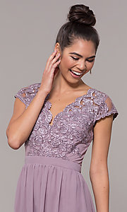 Image of sleeveless embroidered-lace-bodice long prom dress. Style: SOI-M17668 Detail Image 5