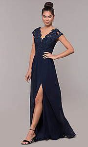 Image of sleeveless embroidered-lace-bodice long prom dress. Style: SOI-M17668 Front Image