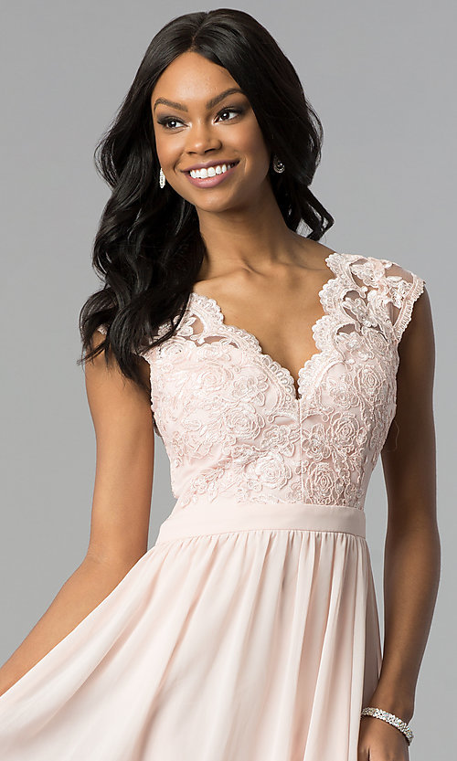 Image of sleeveless embroidered-lace-bodice long prom dress. Style: SOI-M17668 Detail Image 1