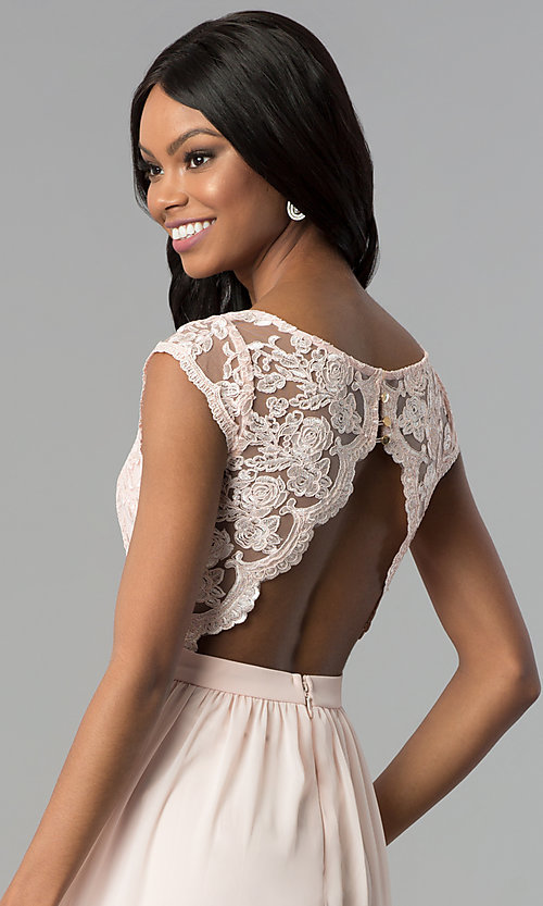 Image of sleeveless embroidered-lace-bodice long prom dress. Style: SOI-M17668 Detail Image 2
