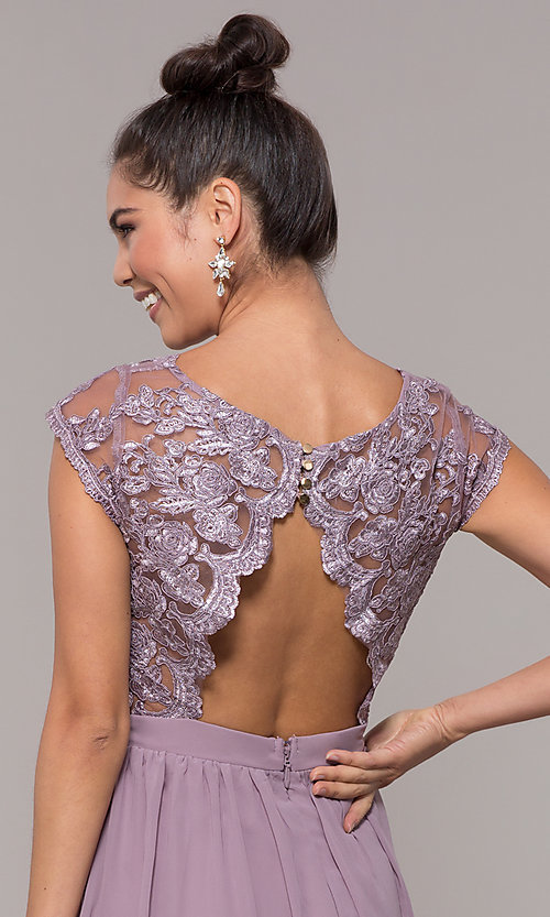 Image of sleeveless embroidered-lace-bodice long prom dress. Style: SOI-M17668 Detail Image 6