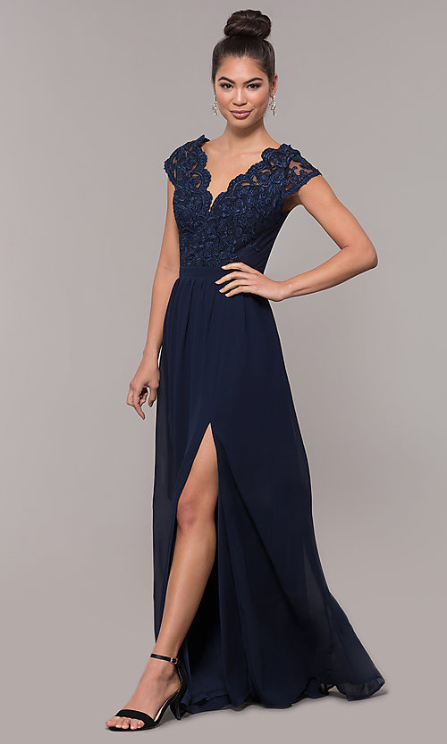7365d6eeb2e Image of sleeveless embroidered-lace-bodice long prom dress. Style: SOI-