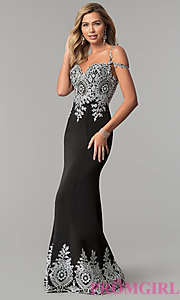 Image of embroidered cold-shoulder satin prom dress. Style: DQ-2347 Front Image