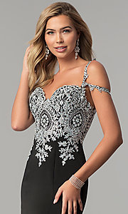 Image of embroidered cold-shoulder satin prom dress. Style: DQ-2347 Detail Image 1