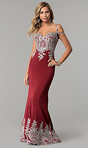 Image of embroidered cold-shoulder satin prom dress. Style: DQ-2347 Detail Image 2