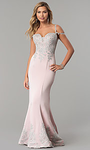 Image of embroidered cold-shoulder satin prom dress. Style: DQ-2347 Detail Image 3