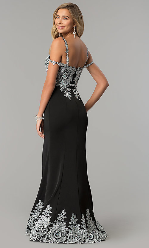 Image of embroidered cold-shoulder satin prom dress. Style: DQ-2347 Back Image
