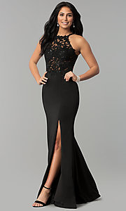 Image of long sleeveless prom dress with lace illusion bodice. Style: DQ-2244 Detail Image 2