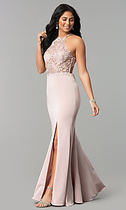 Long High-Neck Prom Dress with Lace Bodice