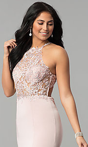 Image of long sleeveless prom dress with lace illusion bodice. Style: DQ-2244 Detail Image 1