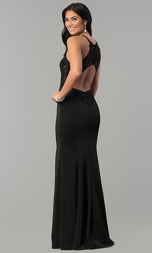 Image of long sleeveless prom dress with lace illusion bodice. Style: DQ-2244 Detail Image 3