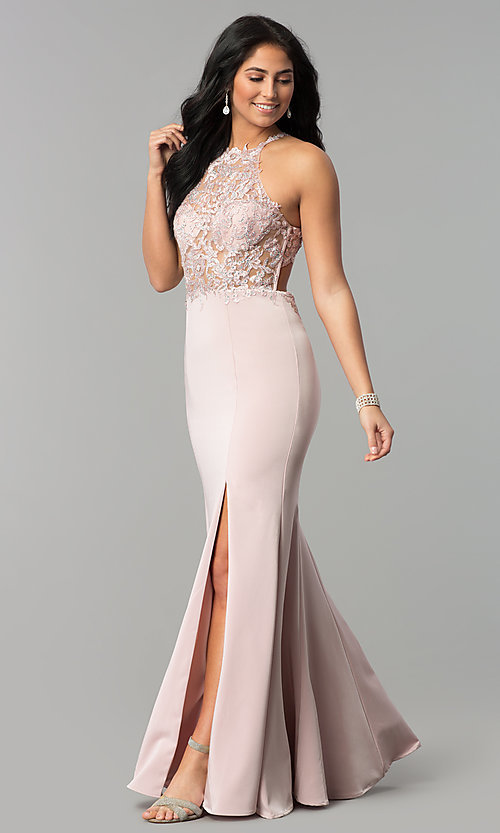 Image of long sleeveless prom dress with lace illusion bodice. Style: DQ-2244 Front Image