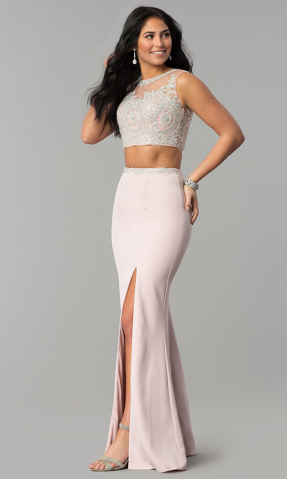 41c2b955e65a3 Image of long two-piece prom dress with rhinestone top. Style  DQ-. Tap to  expand