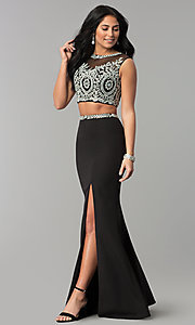 Image of long two-piece prom dress with rhinestone top. Style: DQ-2307 Detail Image 2