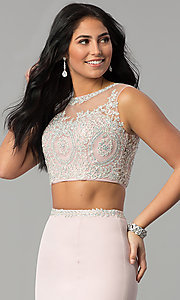 Image of long two-piece prom dress with rhinestone top. Style: DQ-2307 Detail Image 1