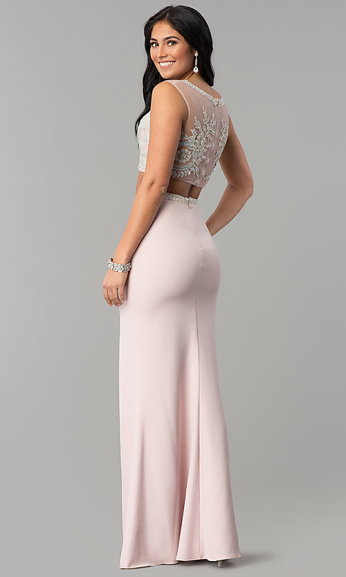 Image of long two-piece prom dress with rhinestone top. Style: DQ-2307 Back Image