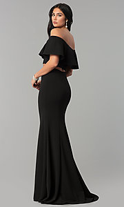 Image of long two-piece off-shoulder prom dress with flounce. Style: DQ-2342 Detail Image 3