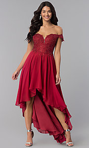 Image of high-low off-shoulder chiffon prom dress with lace. Style: DQ-2278 Front Image