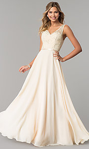 Image of v-neck sleeveless lace-bodice long prom dress. Style: DQ-2267 Detail Image 3