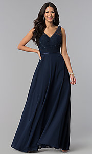 Image of v-neck sleeveless lace-bodice long prom dress. Style: DQ-2267 Front Image