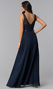 Image of v-neck sleeveless lace-bodice long prom dress. Style: DQ-2267 Back Image