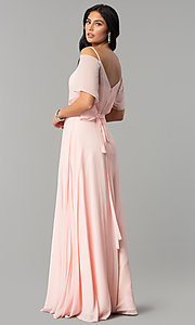 Image of v-neck long chiffon cold-shoulder prom dress. Style: DQ-2343 Back Image