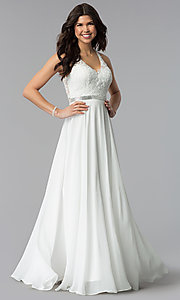 Image of v-neck embroidered-bodice long chiffon prom dress. Style: DQ-2332 Detail Image 3