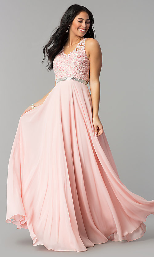 5de687d3605 Image of v-neck embroidered-bodice long chiffon prom dress. Style  DQ