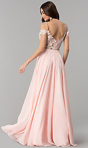 Image of long cold-shoulder chiffon prom dress with lace. Style: DQ-2327 Back Image